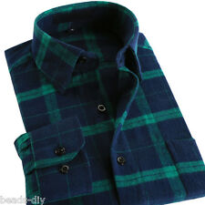 Men's Slim Fit Long Sleeve Shirt Plaids & Check Cotton Casual Dress Shirts Tops