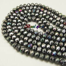 One Strand 8×6 mm Hematite Black Faceted Rondelle Crystal Beads -CC763