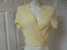 VASNA DESIRE PRETTY YELLOW LACE TRIM GAUZE CROPPED CROP WRAP TOP SHIRT L LARGE