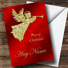 Red Gold Xmas Angel Personalised Christmas Card