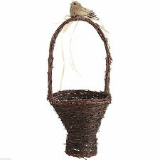 Natural Grapevine Twig Easter Basket with Rattan Bird. Beautiful Rustic Basket