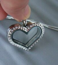 Stainless Steel Floating Heart Locket on Sterling Silver Necklace, USA Seller
