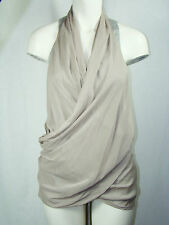 Donna Karan Black Label Beige Sheer Silk Gray Knit Rayon Tank Top Women's Size 8