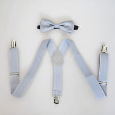 Light Gray Suspender and Bow Tie Set for Baby Toddler Kids Boys (USA Seller)