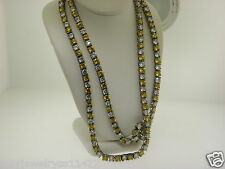 "Sterling Silver 925 Yellow & White Cubic Zirconia 33"" Long Tennis Necklace #54"