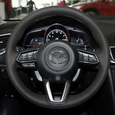 Genuine Leather Steering Wheel Cover Stitch on Wrap for 2017 Mazda 3 CX-5 CX-9
