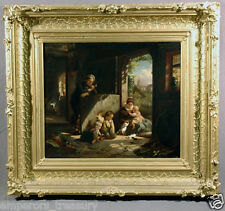 19th Century German Oil in the style of Ludwig Knaus Interior Scene with Family