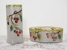 Antique Art Nouveau Acid Etched Enamelled & Frosted Art Glass Vase + Bowl