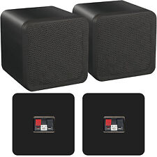 "Pair of 4"" ABS Bookshelf Speakers–80W 8Ohm–Black HiFi Surround Sound Home Cinema"