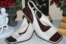 MAX MARA ITALY BEIGE TAN LEATHER SLING BACK OPEN TOE WOMEN'S SHOES SIZE 38 / 7.5