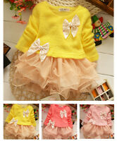 Baby Girls Clothes Kids Bow Long Sleeve Knitted Top Lace Princess Dress Pullover