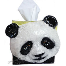 PANDA BEAR Ceramic tissue box cover sculpted Functional ART Sondra Alexander Art