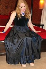 CD/TV Stunning Navy Vintage Silk Skirt Laura Ashley Ball Gown/Prom Dress UK 18