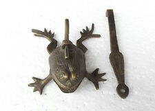 Old Antique Fine Brass Handcrafted Frog Shape Pad Lock With Long Key Collectible