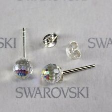 Swarovski Crystal 6mm CLEAR AB Disco Ball Sterling Silver Stud Earrings 4869