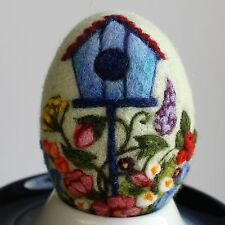 Handmade felted Easter egg with a nesting box and flowers, 3D effect, 3 1/3in.