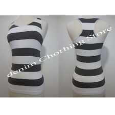 JUNIOR WOMEN SEAMLESS GRAY STRIPED STRETCH RIBBED RACER BACK TANK TOP ONE SIZE