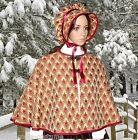 Ladies Victorian 2pc CAPE & BONNET gentry costume fancy dress UK size 14-18 BB