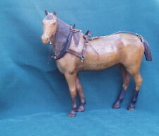 SUPERBLY CARVED WOOD ANTIQUE GELDING HORSE WITH RIGGING COLLAR HARNESS