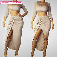 New Hot European Club Stage Celebrity Bandage Bodycon Fashion Cocktail Dress 2PC