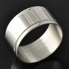 D4576 Smooth Men's White Gold Filled Band Ring Size 8#
