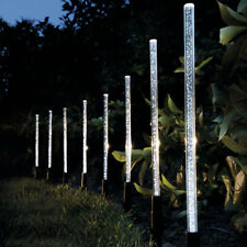 Outdoor 8X LED Crystal Bubble Solar Powered Lamps Garden Lawn Path Stick Lights