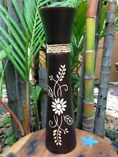 ART VASE WOOD FLOWER THAILAND CRAFT HOME DECORATE GARDEN HANDMADE MANGO CARVED