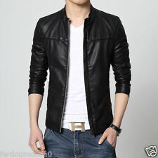 PU Leather Jacket New Men Motorcycle Zipper Bomber Jacket