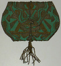ART DECO PURSE EVENING BAG VINTAGE PEACOCK GREEN SILK EMBROIDERED BRAIDED METAL