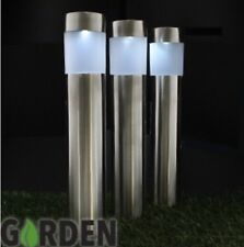 3 x STAINLESS STEEL SOLAR POWER LED GARDEN POST LIGHTS OUTDOOR RECHARGEABLE LAMP