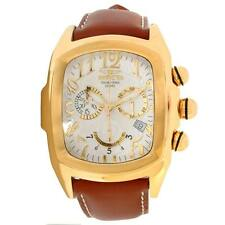 Invicta Men's Dragon Lupah  Quartz Chronograph Ivory White Dial Soft Leather NIB