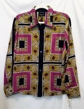 NWOT Size 12 FOXCROFT WRINKLE FREE BLOUSE Vintage Scarf Print Shaped Fit  Cotton