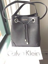 NWT Calvin Klein Saffiano Leather Drawstring Logo Bucket Shoulder bag Black