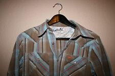 HOLLISTER MENS longsleeve cowboy plaid pearl snap western shirt SMALL S