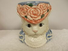 Vintage 1988 Fitz and Floyd Cat Head Floral Hat Cup Mug Stein
