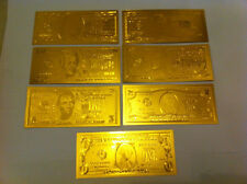 7 - 24 KT 99.9% GOLD BILLS $1-$2-$5-$10-$20-$50-$100 &EACH IN  PVC BILL HOLDER