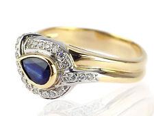 Herren Damen 18 K 750 Gelb Gold 0,25 ct Brillant 0,40 ct Saphir Band Ring