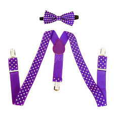 Purple Polka Dots Suspender and Bow Tie Set for Baby Toddler Kids Girls (USA)