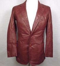 Pierre Cardin Mens Leather Jacket Size 38 R Brown Two Button Rayon Lined EUC