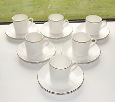 Mayfair Fine Bone China Staffordshire 6 x Coffee Cups and Saucers White & Gilt