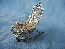 Beautiful Vintage Miniature Silver Filigree Rocking Chair  Intricate Designs