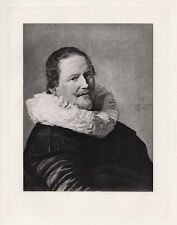 """Great 1800s FRANS HALS Antique Print """"Man wearing a Ruffled Collar"""" SIGNED COA"""