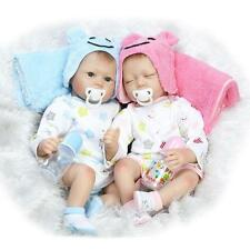 "22"" A Pair of TWINS Reborn Babies cute Dolls silicone Vinyl Handmade Realistic"