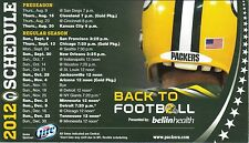 2012 Green Bay Packers Magnet Schedule