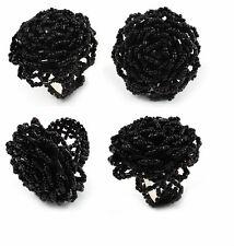 Noir Grand Graine Perlé Fantaisie Fleur Rose Stretch Bague Doigt, Gothique
