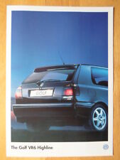 VOLKSWAGEN GOLF VR6 Highline rare 1996 1997 mercato britannico BROCHURE-VW