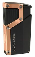 NEW BLACK LABEL by LOTUS-THE CZAR QUAD TORCH CIGAR LIGHTER W/PUNCH-BLACK&COPPER