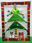 """Christmas Holiday Tree Present Gift Plate Serving Platter Painted Glass 17"""""""