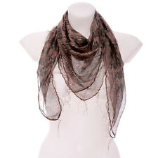 LIGHTWEIGHT NEW BROWN COLOURED SHAWL WITH BLACK SKULLS
