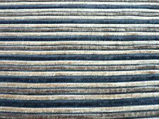 Black Brown & Beige Woven Chenille Stripe Upholstery Fabric Remnant 2m